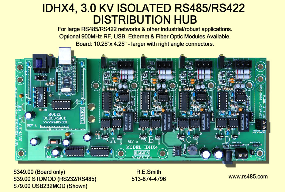 IDHX, 3.0 Kv Isolated RS485/RS422 Distribution Hub